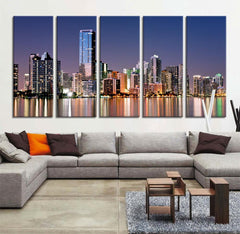 Art Print - Wall Art - Miami Large Wall Art Canvas Print, Miami Skyline Wall Art Print, 5 Piece Large Canvas Print,-Wall Art Canvas-Extra Large Wall Art Canvas Print-Extra Large Wall Art Canvas Print