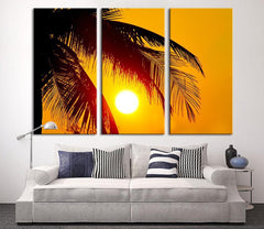 Beach Wall Art - Extra Large Wall Art Canvas Palm and Sunset - Triptych Wall Art Canvas Print-Wall Art Canvas-Extra Large Wall Art Canvas Print-Extra Large Wall Art Canvas Print