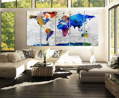 Beautiful Blue Predominated Colorful WORLD MAP on Stone Wall Canvas Print - 5 Panel Canvas Art Print - Streched Canvas-Wall Art Canvas-Extra Large Wall Art Canvas Print-Extra Large Wall Art Canvas Print