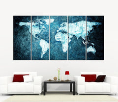 Beautiful WORLD MAP Blue Metalic Background Canvas Print - 5 Panel Canvas Art Print - World Map Drawing - Streched Canvas-Wall Art Canvas-Extra Large Wall Art Canvas Print-Extra Large Wall Art Canvas Print