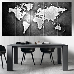 Black and Metalic World Map Canvas Print, Ready to Hang, Framed, Large Wall Art World Map Art, World Map on Metal Background on Print - MC162-Wall Art Canvas-Extra Large Wall Art Canvas Print-Extra Large Wall Art Canvas Print