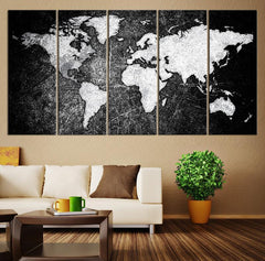Black and White World Map Canvas Print, Ready to Hang Large Wall Art World Map Art, World Map Print, Rustic World Map Print on Canvas - MC142-Wall Art Canvas-Extra Large Wall Art Canvas Print-Extra Large Wall Art Canvas Print