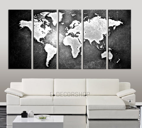 Black Backgrounded White WORLD MAP Canvas Print - World Map 5 Piece Canvas Art Print - Ready to Hang -Black and White World Map-Wall Art Canvas-Extra Large Wall Art Canvas Print-Extra Large Wall Art Canvas Print