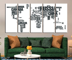 Black White Typographyic World Map Canvas Art Print, Countries Names World Map Art Print No:105-Wall Art Canvas-Extra Large Wall Art Canvas Print-Extra Large Wall Art Canvas Print