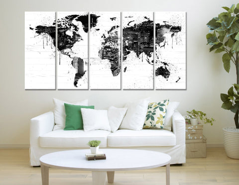 Black White World Map and Cityscape Canvas Print, No:079-Wall Art Canvas-Extra Large Wall Art Canvas Print-Extra Large Wall Art Canvas Print