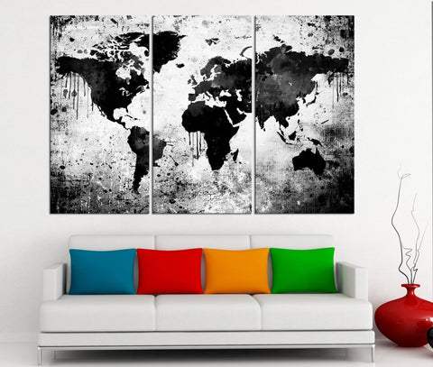 Black White World Map Canvas Print - Contemporary 3 Panel Triptych Gray Extra Large Wall Art - MC111-Wall Art Canvas-Extra Large Wall Art Canvas Print-Extra Large Wall Art Canvas Print
