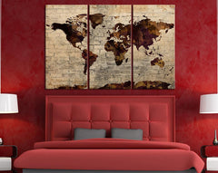 Brown Predominated Colorful World Map on Stone Wall - Vintage World Map Canvas Painting Streched - Large Wall Art Canvas - MC237-Wall Art Canvas-Extra Large Wall Art Canvas Print-Extra Large Wall Art Canvas Print