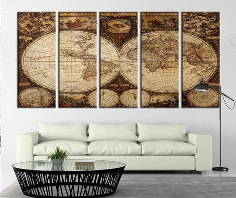 Browny Ancient World Map Canvas Art Print, Historical World Map Art Print No:108-Wall Art Canvas-Extra Large Wall Art Canvas Print-Extra Large Wall Art Canvas Print