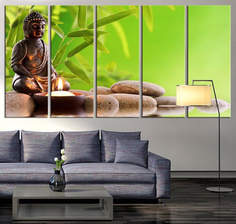 Buddha Statue Extra Large Wall Art Lotus Flower and Stones Canvas Print, Zen Yoga Relax Wall Art, Lotus and Buddha Statue Canvas Print-Wall Art Canvas-Extra Large Wall Art Canvas Print-Extra Large Wall Art Canvas Print