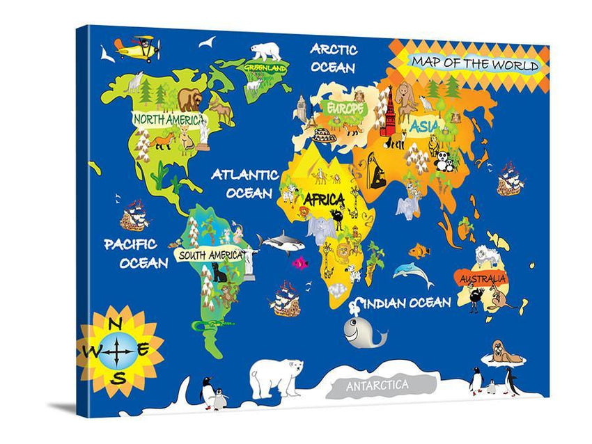 Canvas Art - Animal World Map for Kids Room - Nursery World Map Print - Canvas World Map for Kids and Baby Room - Kids Room Wall Decor-Wall Art Canvas-Extra Large Wall Art Canvas Print-Extra Large Wall Art Canvas Print