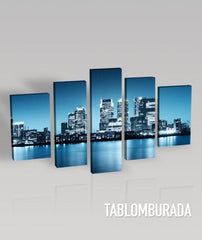 CANVAS ART - Canvas Print Ready to Hang 5 Panels Stretched on Deep 3cm Frame - Blue City America-Wall Art Canvas-Extra Large Wall Art Canvas Print-Extra Large Wall Art Canvas Print