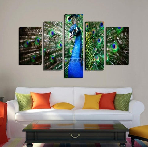 CANVAS ART - Colorful Peacock Print on Canvas + Ready to Hang + 5 Panels Stretched Wall Art Canvas Print-Wall Art Canvas-Extra Large Wall Art Canvas Print-Extra Large Wall Art Canvas Print