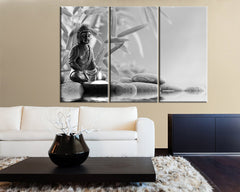CANVAS ART Gray Buddha Statue Canvas Print - Large Wall Art Canvas Print Black and White 3 Panel Triptych Buddha Statue-Wall Art Canvas-Extra Large Wall Art Canvas Print-Extra Large Wall Art Canvas Print