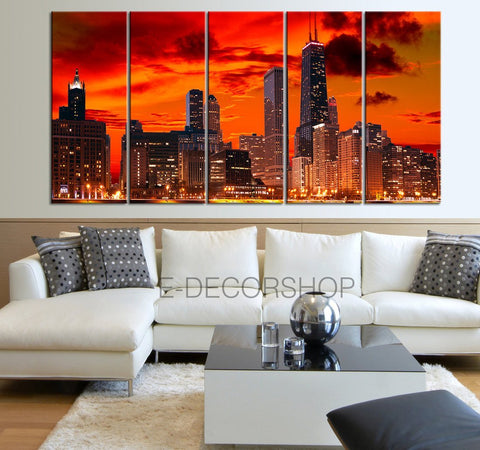Canvas Art - Manhattan City Skyline Landscape Canvas Print - Canvas Art Dark Red Sunset on New York City - 5 Panel Large Canvas Print - MC33-Wall Art Canvas-Extra Large Wall Art Canvas Print-Extra Large Wall Art Canvas Print