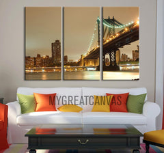 Canvas Art - Manhattan City Skyline Landscape Canvas Print - Canvas Art New York - 3 Panel Large Canvas Print-Wall Art Canvas-Extra Large Wall Art Canvas Print-Extra Large Wall Art Canvas Print