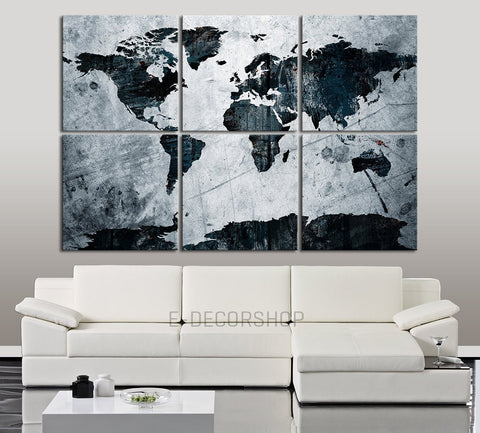 Canvas Art Print Blue and White WORLD MAP on Old Metalic Background- 6 Panel Vintage World Map Canvas Art Print - Retro World Map - MC13-Wall Art Canvas-Extra Large Wall Art Canvas Print-Extra Large Wall Art Canvas Print