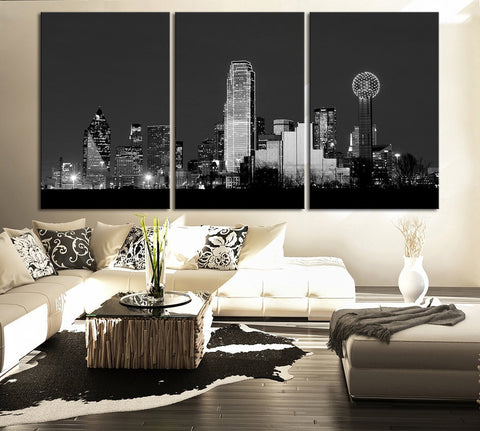 CANVAS ART Print Dallas at Night Skyline - Wall Art Canvas Dallas City Skyline at Night Shot Over the Trinity River-Wall Art Canvas-Extra Large Wall Art Canvas Print-Extra Large Wall Art Canvas Print