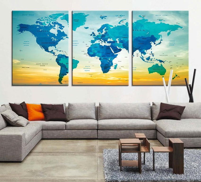 CANVAS Art PRINT - Large World Map Canvas Art Print, Large Wall Art Multicolor World Map Art, Extra Large Watercolor World Map Print-Wall Art Canvas-Extra Large Wall Art Canvas Print-Extra Large Wall Art Canvas Print