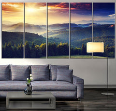 Canvas Art Print Mountain and Autumn, Extra Large Wall Art Canvas Print, Sunset on Mountain Large 5 Panel Canvas Print, Blue Mountains Art - MC219-Wall Art Canvas-Extra Large Wall Art Canvas Print-Extra Large Wall Art Canvas Print