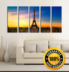Canvas Art Print Paris Eiffel Tower at Sunset, Prints For Wall, 5 Panels Framed Ready to Hang, Eiffel Prints On Canvas, MC226-Wall Art Canvas-Extra Large Wall Art Canvas Print-Extra Large Wall Art Canvas Print