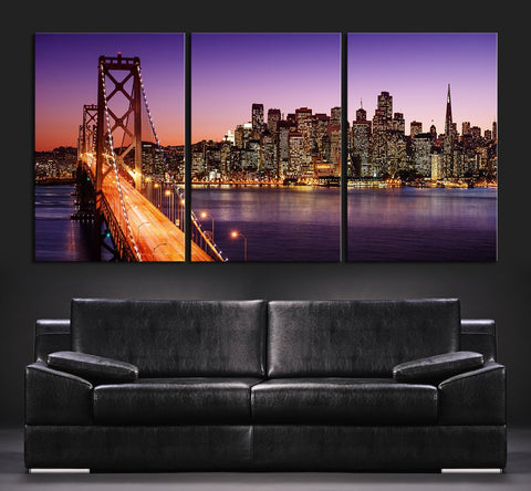 CANVAS ART Print San Francisco Skyline and Bay Bridge at Sunset, San Francisco Wall Art - Large 3 Panel Canvas Art-Wall Art Canvas-Extra Large Wall Art Canvas Print-Extra Large Wall Art Canvas Print