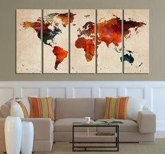 Canvas Art Print - Sephia Watercolor World Map on old Wall - Large Wall Art Wood World Map Art, Sephia Colored Large World Map-Wall Art Canvas-Extra Large Wall Art Canvas Print-Extra Large Wall Art Canvas Print