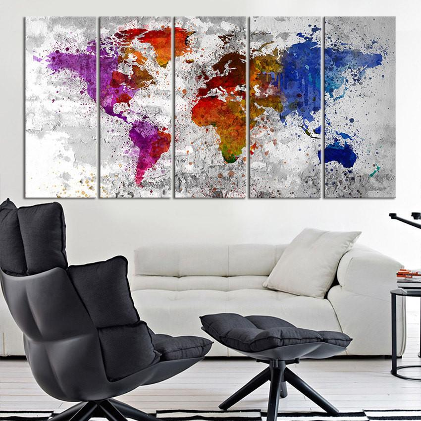 Canvas Art Print Splashed World Map on Old Wall , Large Wall Art World Map, Watercolor World Map Print, Blue World Map, Purple Map Canvas-Wall Art Canvas-Extra Large Wall Art Canvas Print-Extra Large Wall Art Canvas Print