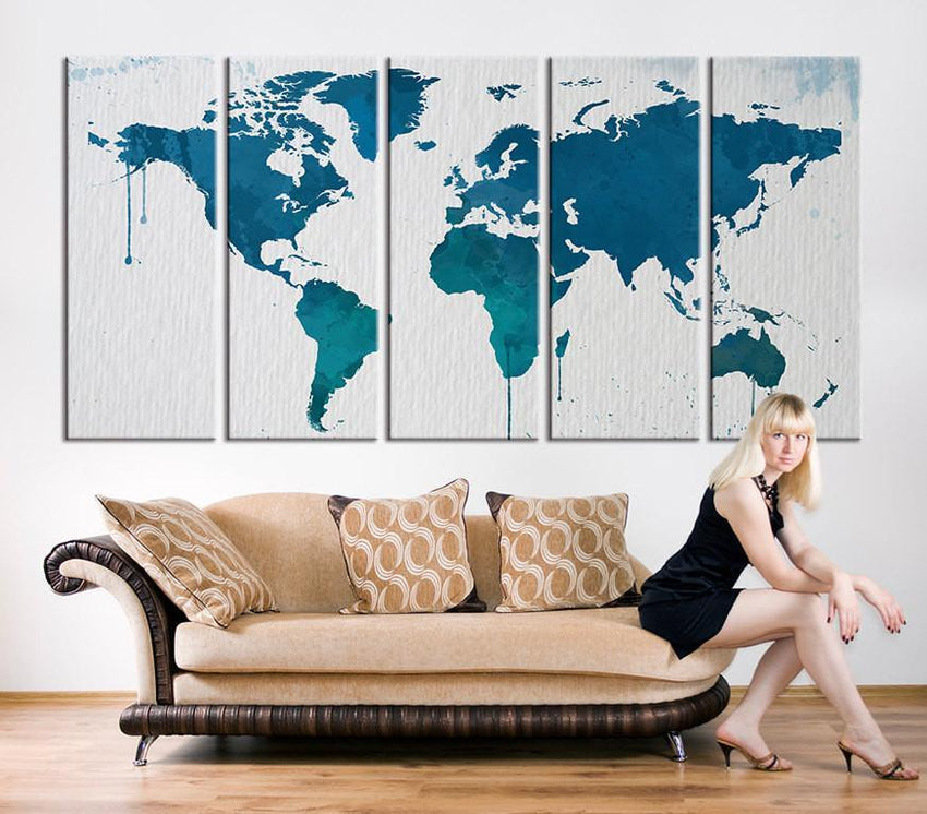 Canvas Art Print, Turquoise Blue World Map Art, Extra Large Watercolor World Map Print for Home and Office Wall Decoration-Wall Art Canvas-Extra Large Wall Art Canvas Print-Extra Large Wall Art Canvas Print