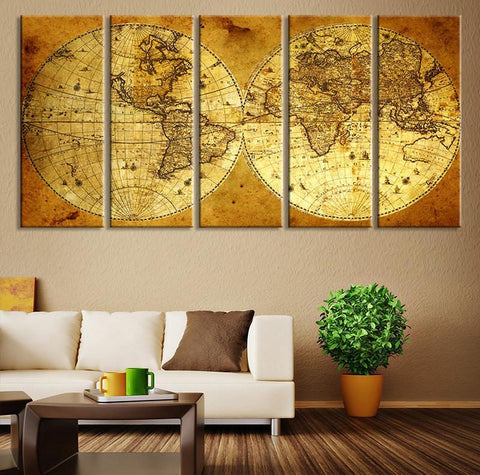 CANVAS ART Print - Vintage World Map Canvas Print, X Large Art Vintage World Map, Extra Large Brown Old World Map Print-Wall Art Canvas-Extra Large Wall Art Canvas Print-Extra Large Wall Art Canvas Print