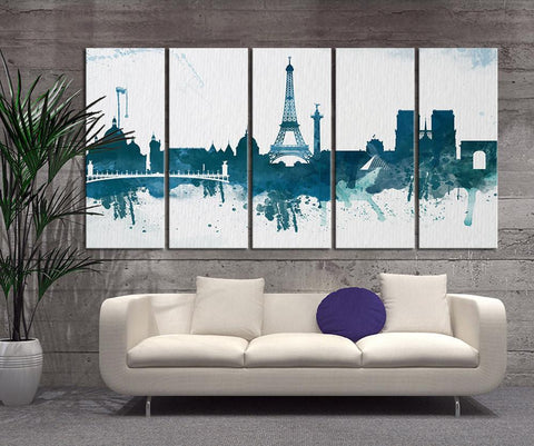 CANVAS ART Print - Watercolor Paris Eiffel Tower Canvas Print, X Large Art Watercolor Eiffel Tower, Extra Large Watercolor Paris Art Print-Wall Art Canvas-Extra Large Wall Art Canvas Print-Extra Large Wall Art Canvas Print