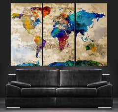 Canvas Art Print Watercolor World Map - Contemporary 3 Panel Triptych Colorful Rainbow Colors Large Wall Art-Wall Art Canvas-Extra Large Wall Art Canvas Print-Extra Large Wall Art Canvas Print