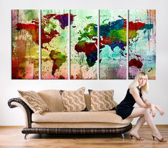 Canvas Art Print - Watercolor World Map Large Wall Art Print, Extra Large Size Art - Grunge Watercolor World Map Print-Wall Art Canvas-Extra Large Wall Art Canvas Print-Extra Large Wall Art Canvas Print