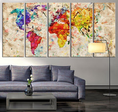 Canvas Art Print Watercolor World Map, Large Wall Art World Map Art, Extra Large Vintage World Map Print for Home and Office Wall Decoration-Wall Art Canvas-Extra Large Wall Art Canvas Print-Extra Large Wall Art Canvas Print