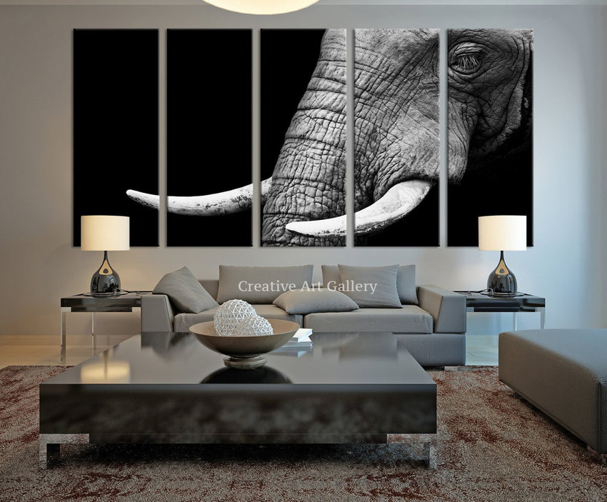 Canvas Art Print - Wild Old Elephant Face Wall Art Canvas Print, Ivory Canvas Print, Large Wild Elephant Canvas Print, For Great Wall Decor - MC71-Wall Art Canvas-Extra Large Wall Art Canvas Print-Extra Large Wall Art Canvas Print