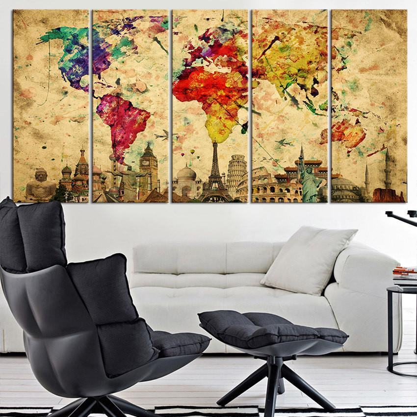 Canvas Art Print Wonders of the World on Watercolor World Map, Large Wall Art World Map Art, Retro World Map Print-Wall Art Canvas-Extra Large Wall Art Canvas Print-Extra Large Wall Art Canvas Print