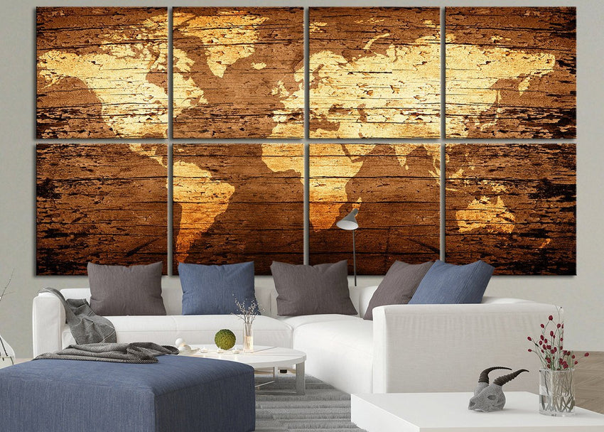 Canvas Art Print WORLD MAP on Rustic Wood - 8 Panel Vintage World Map Canvas Art Print - Retro World Map-Wall Art Canvas-Extra Large Wall Art Canvas Print-Extra Large Wall Art Canvas Print