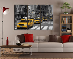 Canvas Art Prints - American Yellow Taxi - Square Canvas - New York City Times Square Street Canvas-Wall Art Canvas-Extra Large Wall Art Canvas Print-Extra Large Wall Art Canvas Print