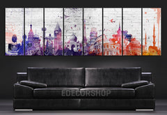 Canvas Art Prints Wonders of the World Watercolor on Wall - 8 Panel Large Size Watercolor Wonders of the World Prints - MC116-Wall Art Canvas-Extra Large Wall Art Canvas Print-Extra Large Wall Art Canvas Print