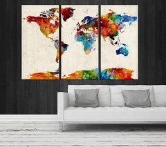 Canvas Art Set - Extra Large Wall Art Canvas World Map Print - Watercolor Map Canvas - Colorful Watercolor World Map Canvas,-Wall Art Canvas-Extra Large Wall Art Canvas Print-Extra Large Wall Art Canvas Print