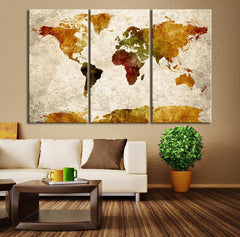 Canvas Art Set - Extra Large Wall Art Canvas World Map Print - Watercolor Map Canvas - Sephia Watercolor World Map Canvas,-Wall Art Canvas-Extra Large Wall Art Canvas Print-Extra Large Wall Art Canvas Print