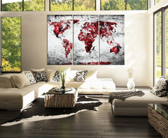 Canvas Print 3 Panel WORLD MAP - 3 Piece Atlas Canvas Art Print - Black and Red Vintage World Map - MC115-Wall Art Canvas-Extra Large Wall Art Canvas Print-Extra Large Wall Art Canvas Print