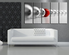 Canvas Print 5 Panel Gray and Red Balls - Large Canvas Art Print for Home Decoration, Ready Hanging, Great Print, Red and Gray Balls-Wall Art Canvas-Extra Large Wall Art Canvas Print-Extra Large Wall Art Canvas Print