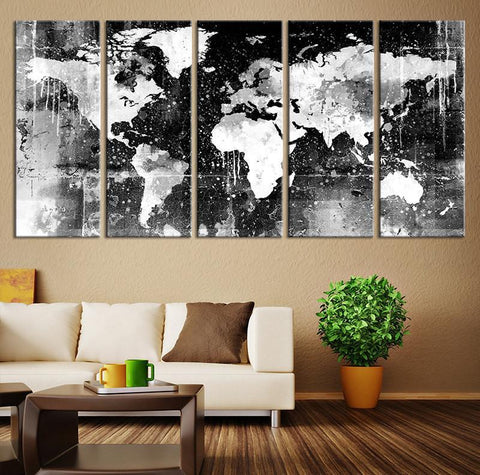 Canvas Print - Black and White World Map Wall Art, Ready to Hang Large Wall Art World Map Art, World Map Print, World Map Print on Canvas - MC147-Wall Art Canvas-Extra Large Wall Art Canvas Print-Extra Large Wall Art Canvas Print