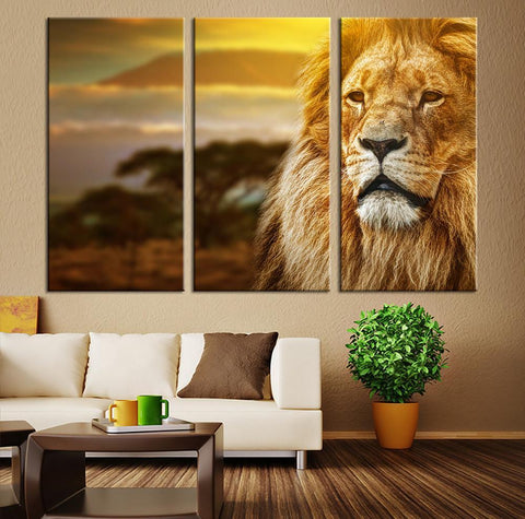 Canvas Print - Lion Canvas Art - Lion Canvas Print, Lion Print, Ready to Attack, Cold Blooded, King Canvas Art, Safari Art, The Strongest-Wall Art Canvas-Extra Large Wall Art Canvas Print-Extra Large Wall Art Canvas Print