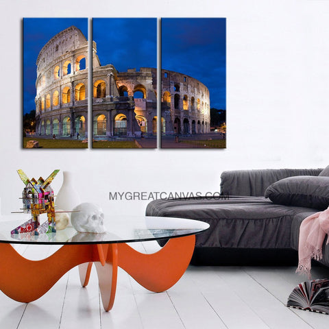 Canvas Print Rome Colosseum 3 Panel - Colosseum Wall Art Canvas - Framed Giclee Large Print-Wall Art Canvas-Extra Large Wall Art Canvas Print-Extra Large Wall Art Canvas Print