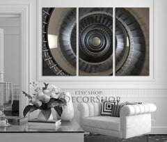 Canvas Print Spiral Staircase 3 Piece Canvas Art Print - Ready to Hang - MC06-Wall Art Canvas-Extra Large Wall Art Canvas Print-Extra Large Wall Art Canvas Print
