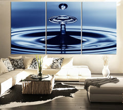 Canvas Print Water Drop and Waves - Large and Great Blue Blob Water Canvas Print - Can be edited Colors-Wall Art Canvas-Extra Large Wall Art Canvas Print-Extra Large Wall Art Canvas Print