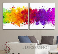 Canvas Print Watercolor Background 2 Panel for Wall Decor | Diptych Watercolour Art Canvas Print-Wall Art Canvas-Extra Large Wall Art Canvas Print-Extra Large Wall Art Canvas Print