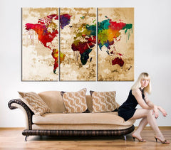 Canvas Print - Watercolor World Map Art - Watercolor 3 Panel World Map Print on Canvas, Framed and Streched, Ready to Hanging-Wall Art Canvas-Extra Large Wall Art Canvas Print-Extra Large Wall Art Canvas Print