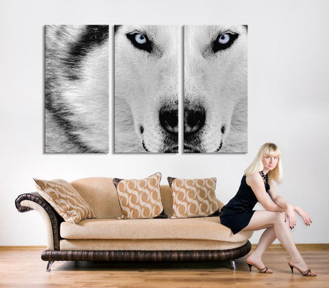 Canvas Print - Wild Wolf Canvas Art - Siberian Husky Canvas Print, Husky Print, Ready to Hanging - MC239-Wall Art Canvas-Extra Large Wall Art Canvas Print-Extra Large Wall Art Canvas Print